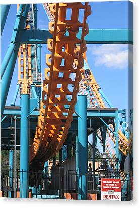 Six Flags America - Two-face Roller Coaster - 12123 Canvas Print by DC Photographer