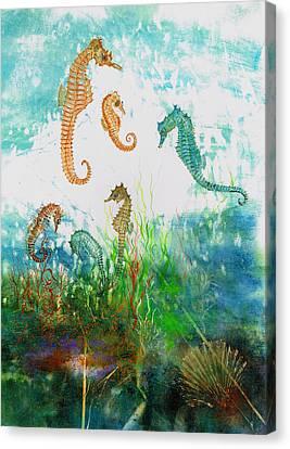 Six Seahorses In A Sea Garden Canvas Print by Nancy Gorr