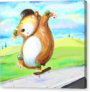 Skateboarding Bear Canvas Print by Scott Nelson