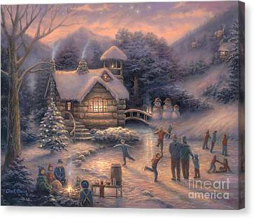 Skating By Twilight Canvas Print by Chuck Pinson