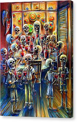 Skeleton Wine Party Canvas Print by Heather Calderon