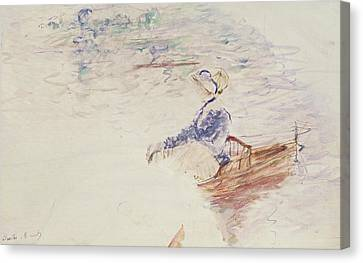 Sketch Of A Young Woman In A Boat Canvas Print by Berthe Morisot