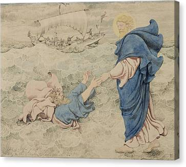 Sketch Of Christ Walking On Water Canvas Print by Richard Dadd