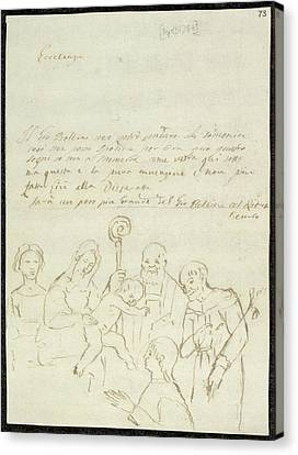 Sketch Of Old Master Painting Canvas Print by British Library