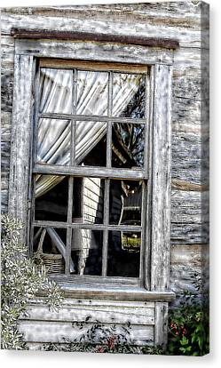 Sketched Vintage Window Canvas Print by Linda Phelps