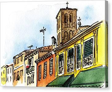 Sketching Italy Venice Via Nuova Canvas Print by Irina Sztukowski