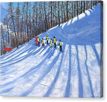 Ski Lesson Canvas Print by Andrew Macara
