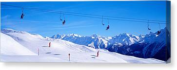 Ski Lift In Mountains Switzerland Canvas Print by Panoramic Images