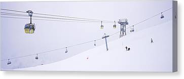 Ski Lifts In A Ski Resort, Arlberg, St Canvas Print by Panoramic Images