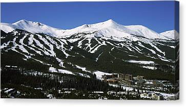 Ski Resorts In Front Of A Mountain Canvas Print by Panoramic Images