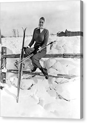 Skier Takes Sunshine Break Canvas Print by Underwood Archives