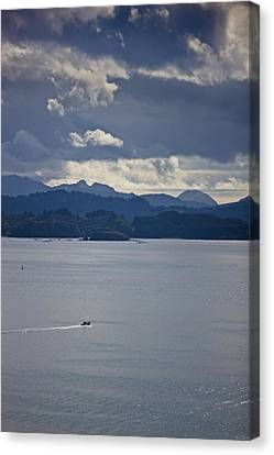 Skiff Off The Shore Of Kodiak Island Canvas Print by Kevin Smith