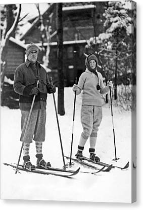 Skiing At Lake Placid In Ny Canvas Print by Underwood Archives