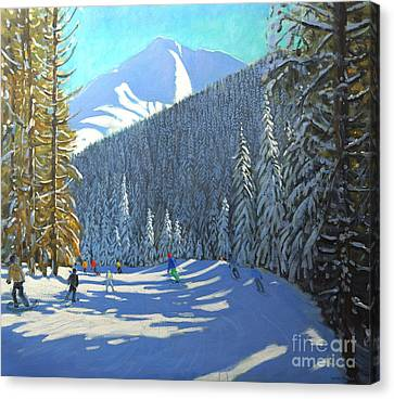 Skiing  Beauregard La Clusaz Canvas Print by Andrew Macara