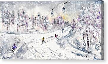 Skiing In The Dolomites In Italy 01 Canvas Print by Miki De Goodaboom