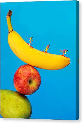 Skiing On Banana Miniature Art Canvas Print by Paul Ge