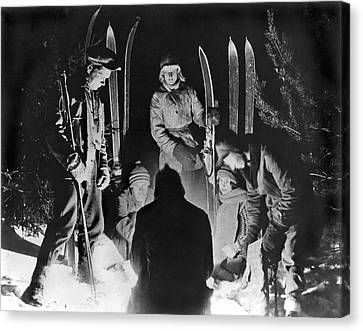 Skiing Party Camps In Siberia Canvas Print by Underwood Archives