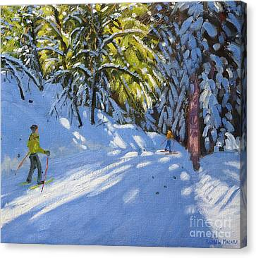 Skiing Through The Woods  La Clusaz Canvas Print by Andrew Macara