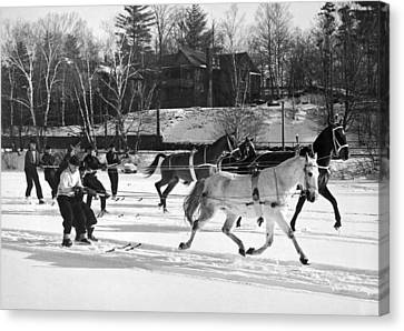 Skijoring At Lake Placid Canvas Print by Underwood Archives