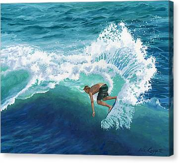 Skimboard Surfer Canvas Print by Alice Leggett