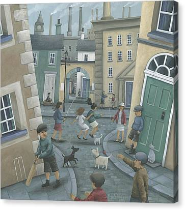 Skipping By The Green Door Canvas Print by Peter Adderley