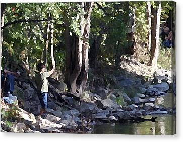 Skipping Stones Impressionist Fall Series #4  Canvas Print by Sharon McLain