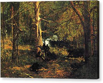 Skirmish In The Wilderness Canvas Print by Winslow Homer