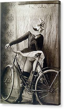 Skirt Up Bicycle Rider Canvas Print by Unknown