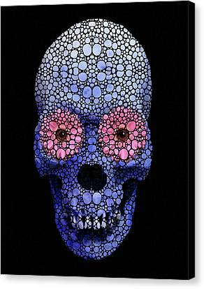 Skull Art - Day Of The Dead 1 Stone Rock'd Canvas Print by Sharon Cummings