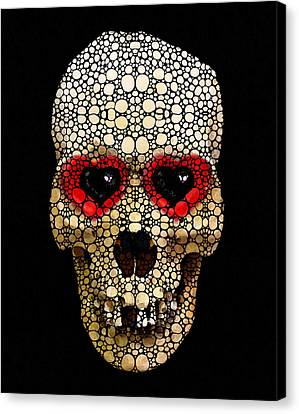 Skull Art - Day Of The Dead 3 Stone Rock'd Canvas Print by Sharon Cummings