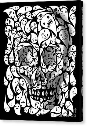 Skull Doodle Canvas Print by Sassan Filsoof