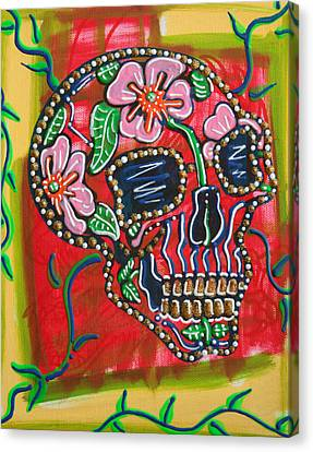 Skull Of Flowers Canvas Print by Laura Barbosa