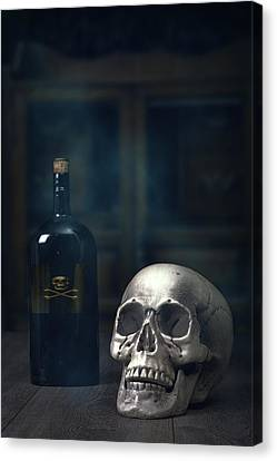 Skull With Poison Bottle Canvas Print by Amanda Elwell