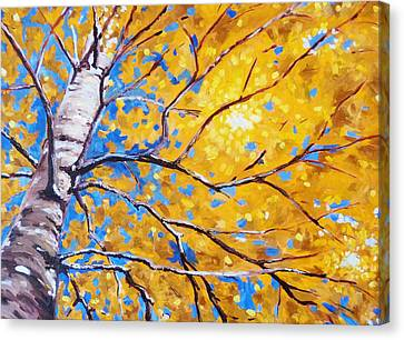 Sky Birch Canvas Print by Nancy Merkle