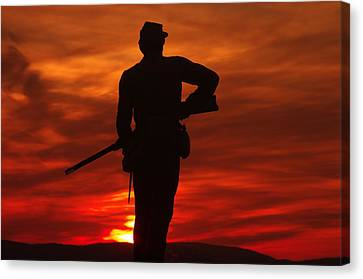 Sky Fire - 111th New York Infantry Hancock Avenue Brian Farm Cemetery Ridge Sunset Winter Gettysburg Canvas Print by Michael Mazaika