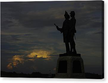 Sky Fire - 73rd Ny Infantry 4th Excelsior 2nd Fire Zouaves - Summer Evening Thunderstorms Gettysburg Canvas Print by Michael Mazaika