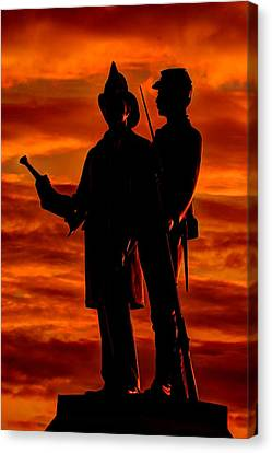 Sky Fire - 73rd Ny Infantry Fourth Excelsior Second Fire Zouaves-b1 Sunrise Autumn Gettysburg Canvas Print by Michael Mazaika