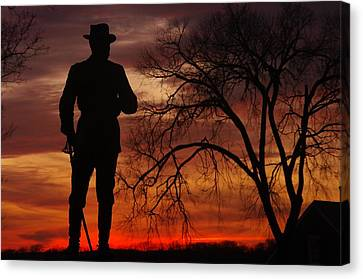 Sky Fire - Brigadier General John Buford - Commanding First Division Cavalry Corps Sunset Gettysburg Canvas Print by Michael Mazaika