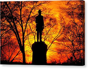 Sky Fire - Flames Of Battle 50th Pennsylvania Volunteer Infantry-a1 Sunset Antietam Canvas Print by Michael Mazaika
