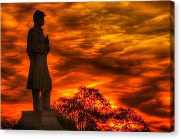 Sky Fire - West Virginia At Gettysburg - 7th Wv Volunteer Infantry Vigilance On East Cemetery Hill Canvas Print by Michael Mazaika