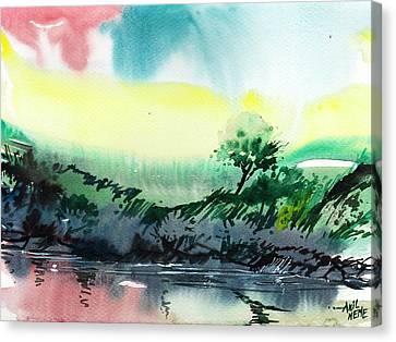 Sky N Lake Canvas Print by Anil Nene