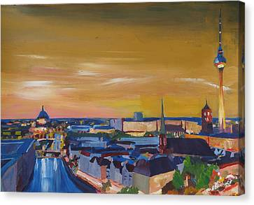Skyline Of Berlin At Sunset Canvas Print by M Bleichner