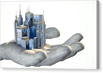 Skyscraper City In The Palm Of A Hand Canvas Print by Allan Swart