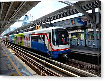 Skytrain Carriage Metro Railway At Nana Station Bangkok Thailand Canvas Print by Imran Ahmed