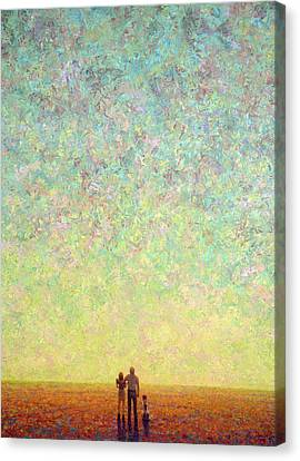 Skywatching In A Painting Canvas Print by James W Johnson