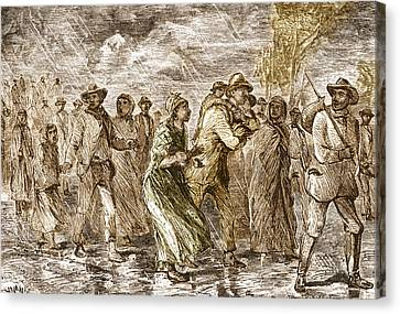 Slaves Escaping Via Underground Railroad Canvas Print by Science Source