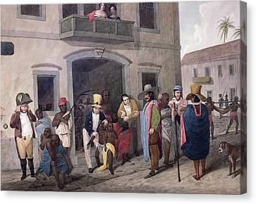 Slaves In Brazil Hand-coloured Engraving Canvas Print by English School