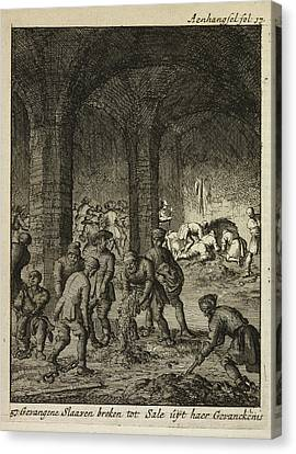 Slaves Working In An Underground Catacomb Canvas Print by British Library