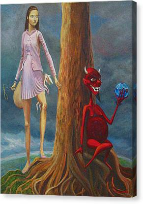Slaying The Devil Who Eats My Dreams Canvas Print by Mindy Huntress