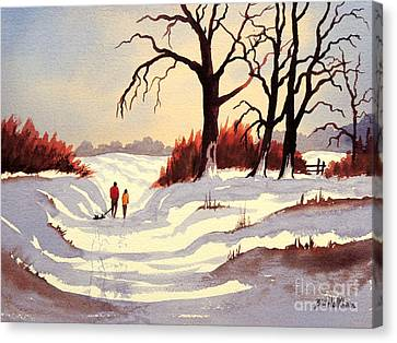 Sledding Canvas Print by Bill Holkham